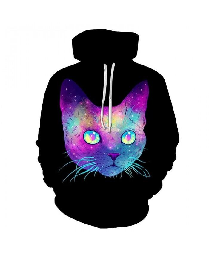 Sparkling Cat 3D Printed Mens Pullover Sweatshirt Pullover Casual Hoodie Men Fashion Hoodie Streetwear Sweatshirt
