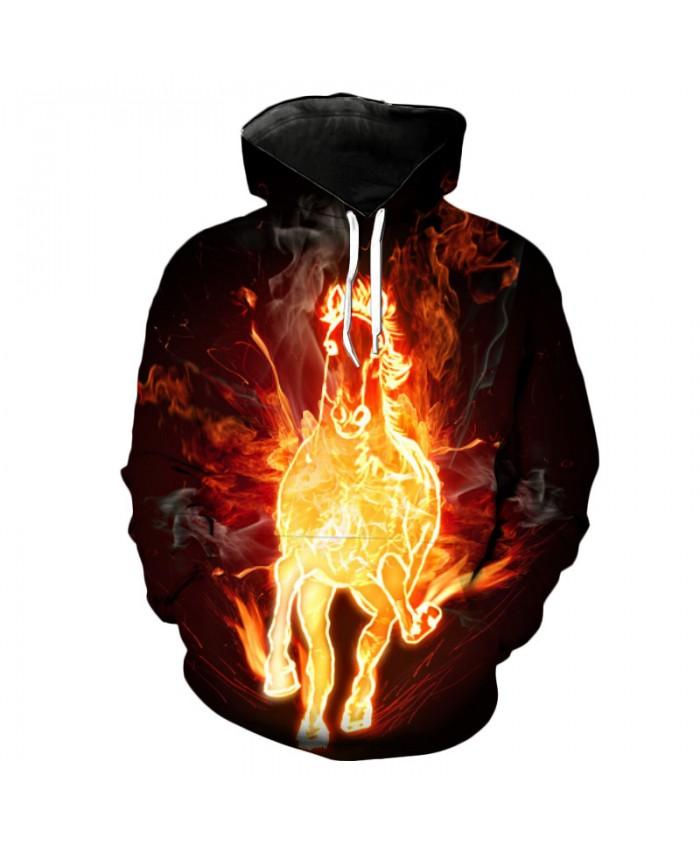 Speeding Flame Horse Cool Hoodies Casual Hoodie Autumn Tracksuit Pullover Hooded Sweatshirt