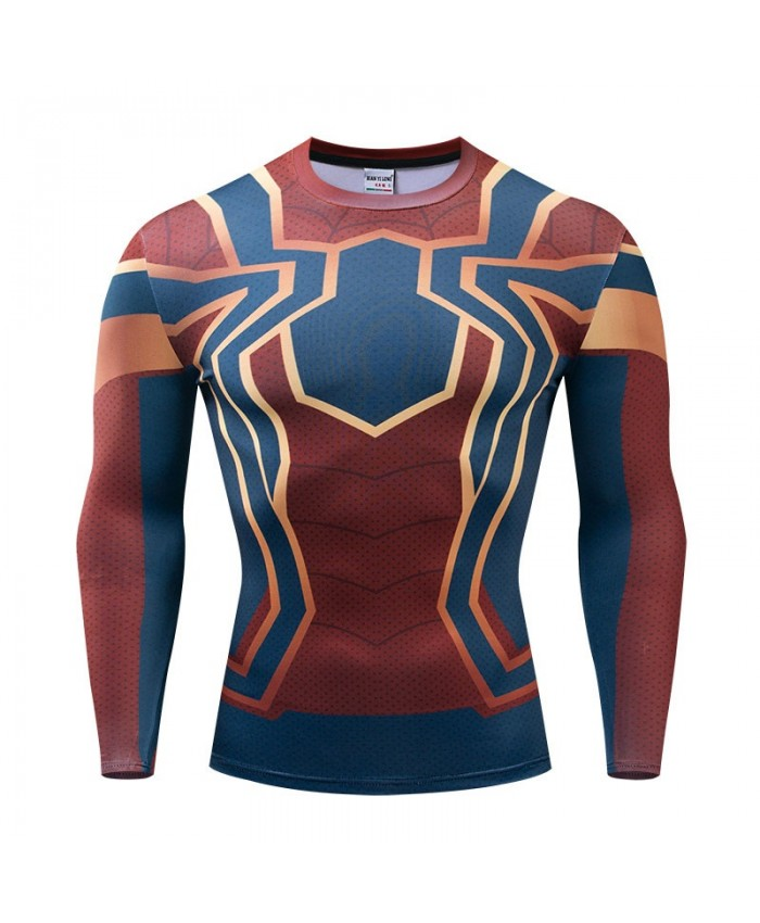 Spider man Long Sleeve Men Marvel Fitness Compression Bodybuilding Tops The Avengers 4 Long Sleeve Tee Brand