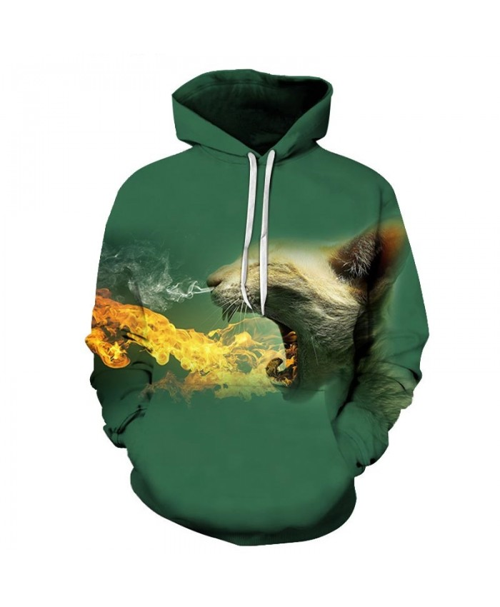 Spit Fire And Smoke Cat 3D Printed Mens Pullover Sweatshirt Pullover Casual Hoodie Men Streetwear Sweatshirt Hoodie
