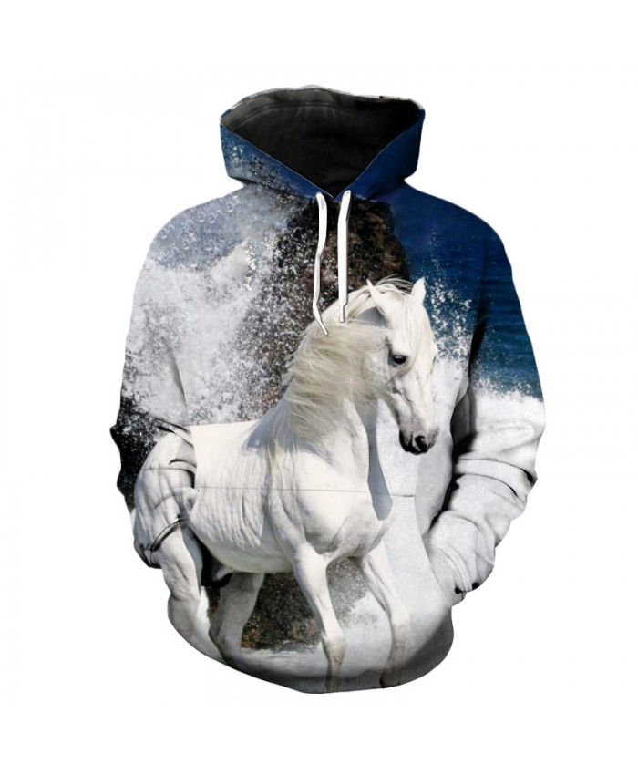 Splash Snow White Horse Print Fashion Men's Hooded Sweatshirt Casual Hoodie Autumn Tracksuit Pullover Hooded Sweatshirt