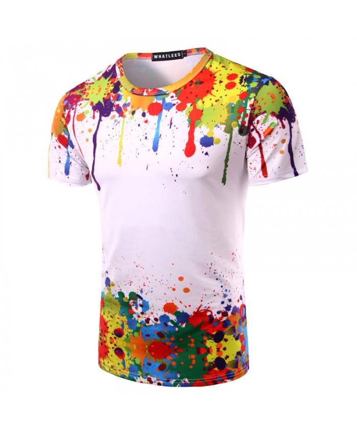 Splashed Paint Tops Summer T shirt Men Short Sleeve Novelty Printed 3D T-shirts 2021 Personality Round Neck Tees