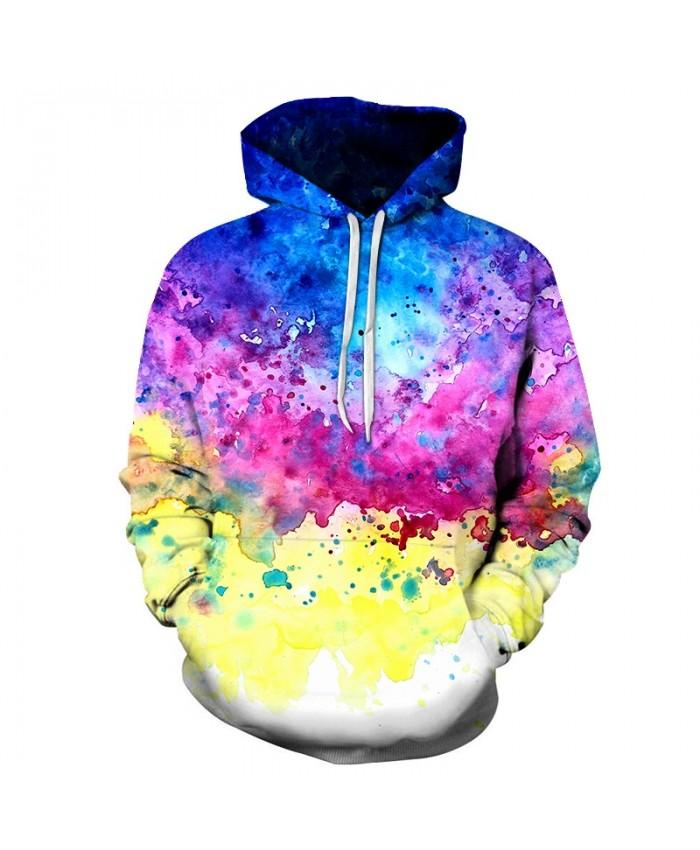 Splatter Watercolor Art Unisex Hoodie 3D Print Sweatshirts Pullover Harajuku Mens Hoody Streetwear Coat for Autumn