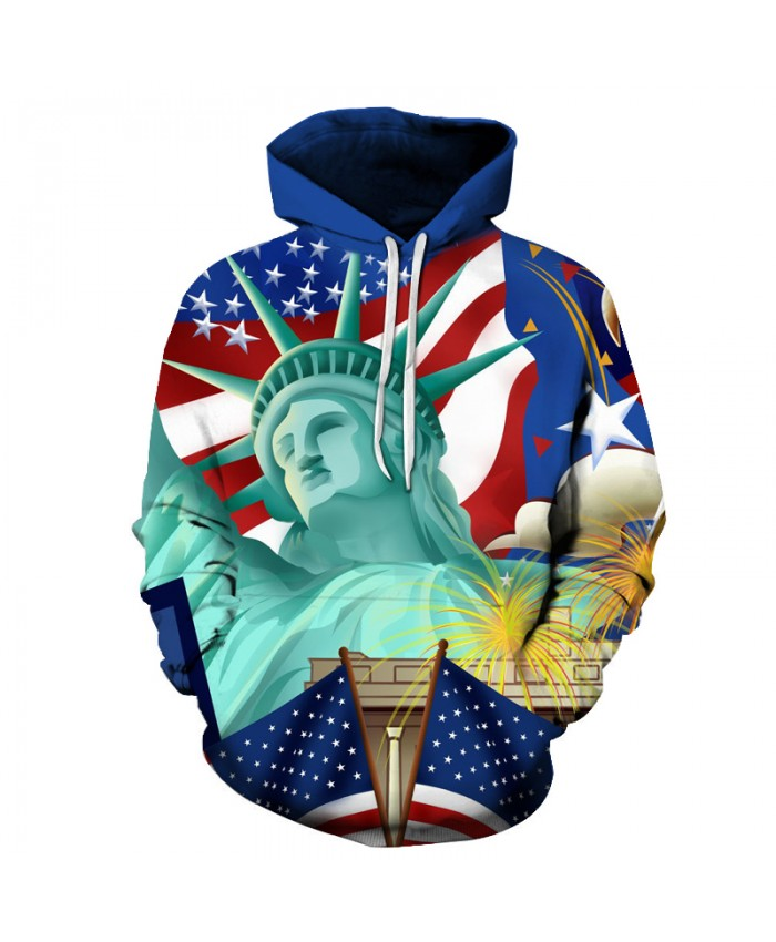 Statue of Liberty 3D Sweatshirts Men/Women Hoodies With Hat Print Animal Autumn Winter Loose Thin Hooded Hoody Tops