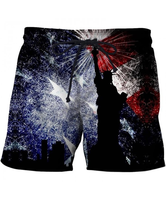 Statue of Liberty Men 3D Printed Beach Shorts Summer Male Breathable Watersport Summer USA Flag Board Short
