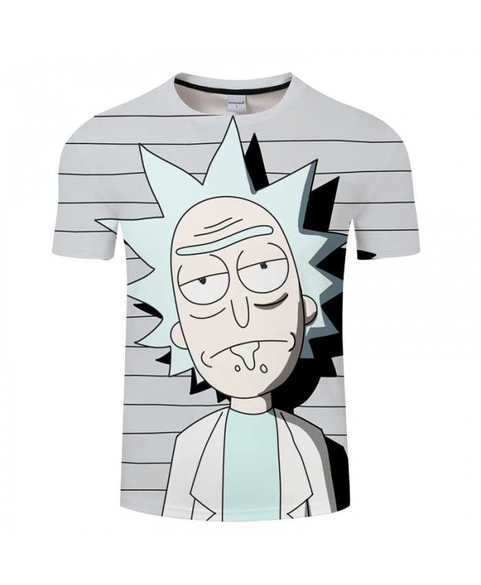 Stripe&Rick 3D Print t shirt Men Women tshirt Summer Anime Short Sleeve O-neck Tops&Tee Hot Grey 2018 Drop Ship