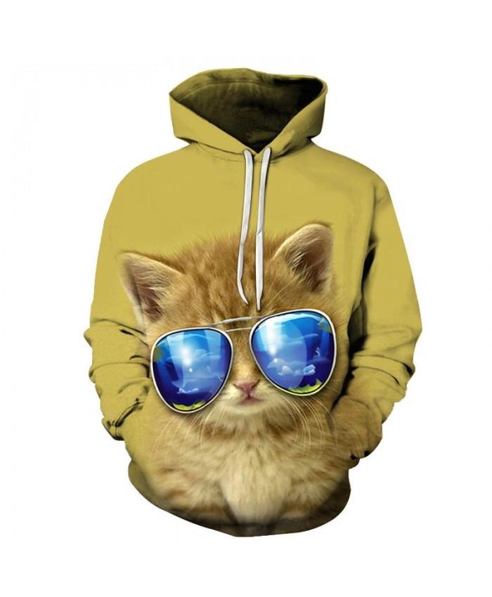 Sunglasses Cat 3D Printed Mens Pullover Sweatshirt Pullover Casual Hoodie Men Streetwear Sweatshirt Hoodie Clothes