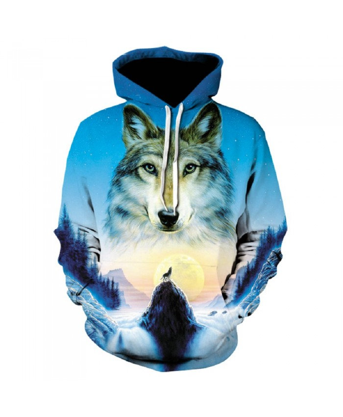 Sunrise Wolf Hoodie Hoodies Men Women 2019 New Fashion Spring Autumn Pullover Sweatshirts Sweat Homme 3D Tracksuit