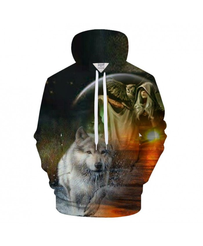 Sunrize 3D Hoodies Funny Wolf Sweatshirt Men Owl Hoody Print Tracksuit Harajuku Top Streatwear Coat Pullover DropShip