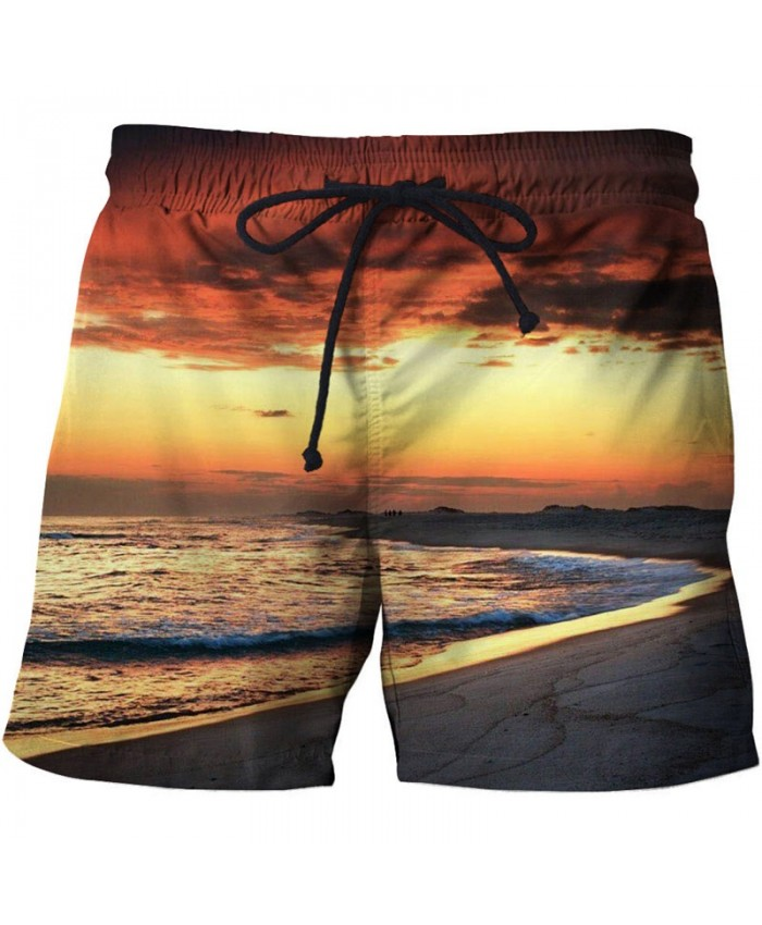 Sunset Glow Men Beach Shorts 3D Print Men Shorts Casual Summer Cool Men Elastic Waist Male Fitness Shorts Drop Ship
