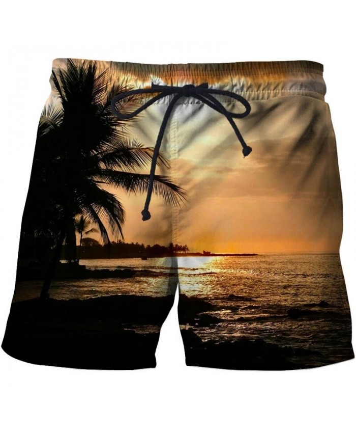 Sunset Men Board Shorts 3D Print Men Shorts Casual Summer Cool Men Elastic Waist Male Fitness Shorts Drop Ship