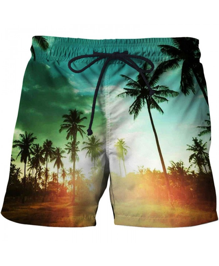 Sunshine Palm Men Board Shorts 3D Print Men Shorts Casual Summer Cool Men Elastic Waist Male Beach Shorts Drop Ship
