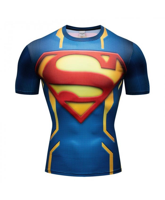 Superman Letter S T Shirt Men Tops Short Sleeve Tees Fitness T Shirt Compression Crossfit Bodybuilding Camiseta