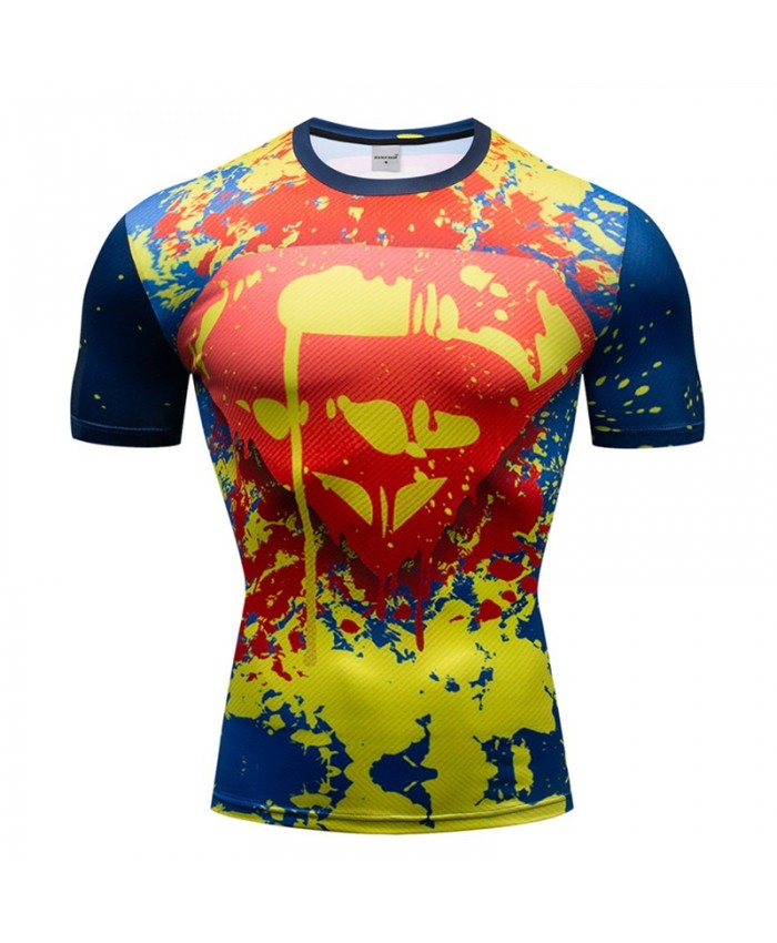 Superman T-Shirt Men Tops Short Sleeve Tees Fitness Shirt Compression Shirt Iron Man Crossfit Bodybuilding Camiseta