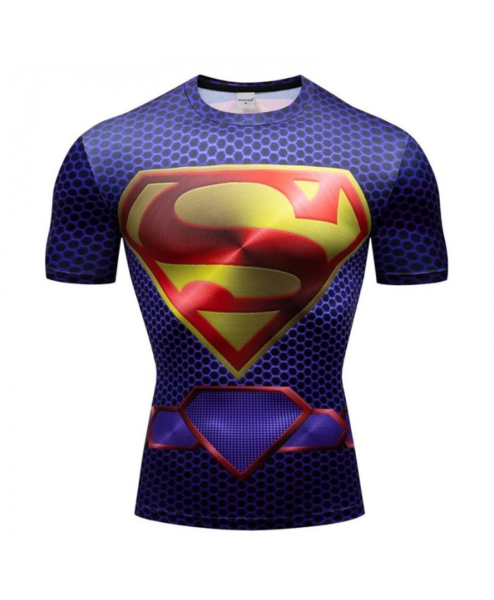 Superman T Shirt Men Tops Short Sleeve Tees Fitness Shirt Compression Super Hero Crossfit Bodybuilding Camiseta