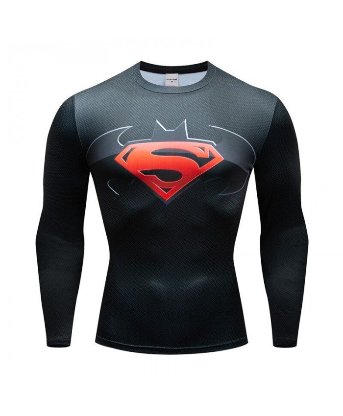 Superman T-shirts Men Compression Tshirts Bodybuilding Fitness Tops Long Sleeve Tees Batman Iron Man Cosplay