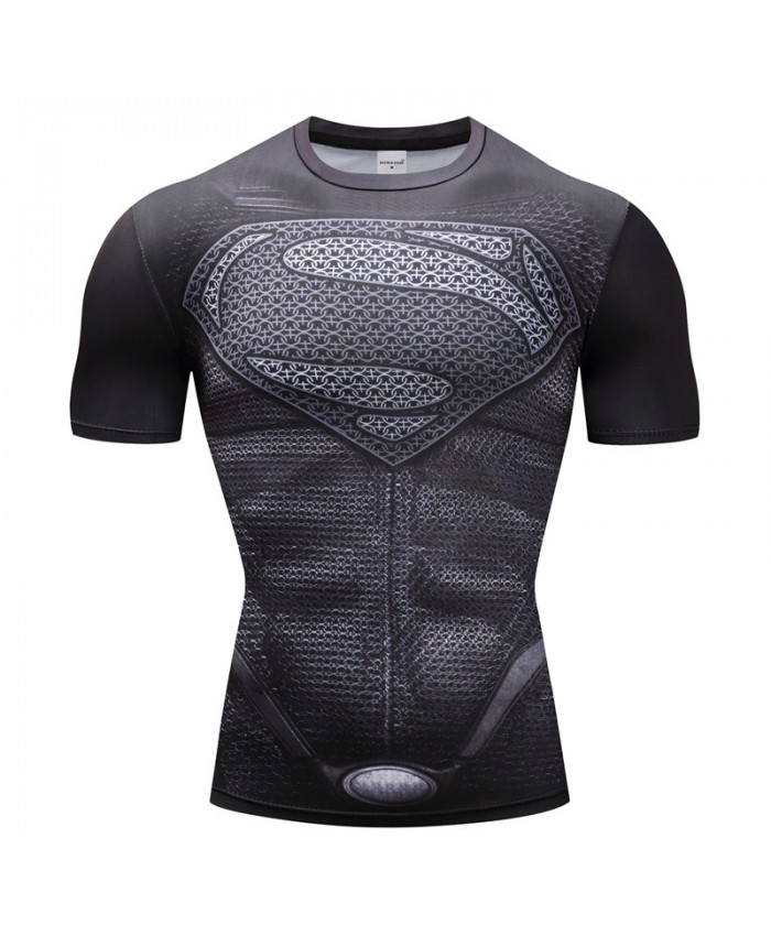 Superman Tshirts Men Compression Shirts Tops The Flash T-shirts Fitness Tees Bodybuilding camiseta rashguard