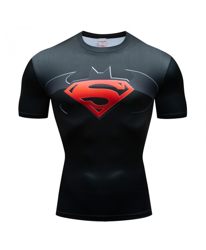Superman t shirt Men Tops batman Short Sleeve Tees Fitness Shirt Compression T-Shirt Fashion Bodybuilding Camiseta