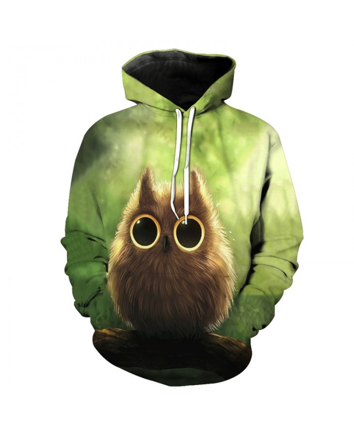 Sweet Cute Big Eyes Owl Print Fashion Hooded Sweatshirt Neutral Pullover Soprtswear