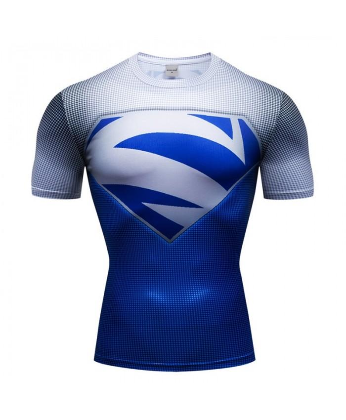 T-Shirt Men Tops Iron Man Short Sleeve Tees Fitness Shirt Superman Compression Shirt Crossfit Bodybuilding Camiseta A