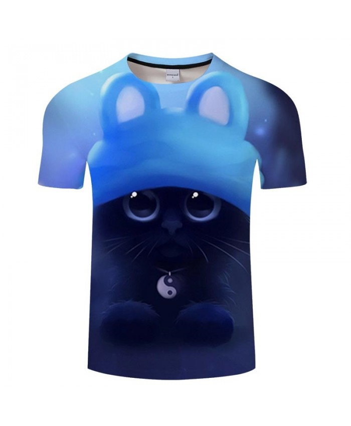 Tai Chi Necklace Cat 3D Print Men tshirt Crossfit Shirt Casual Summer Short Sleeve Men Brand T Shirt Men Round Neck