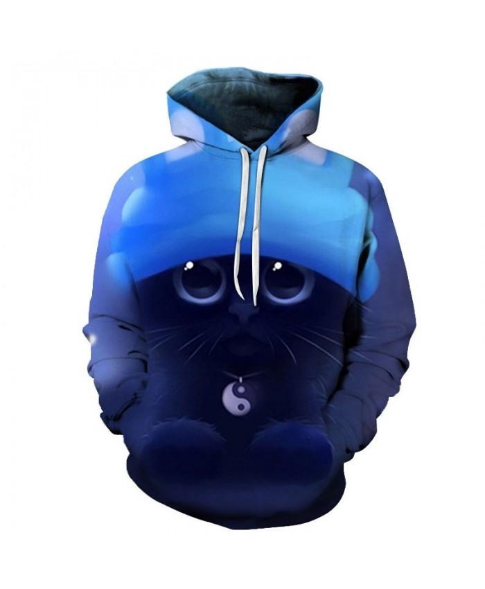 Tai Chi Necklace Cat 3D Printed Mens Pullover Sweatshirt Pullover Casual Hoodie Men Streetwear Sweatshirt Hoodie