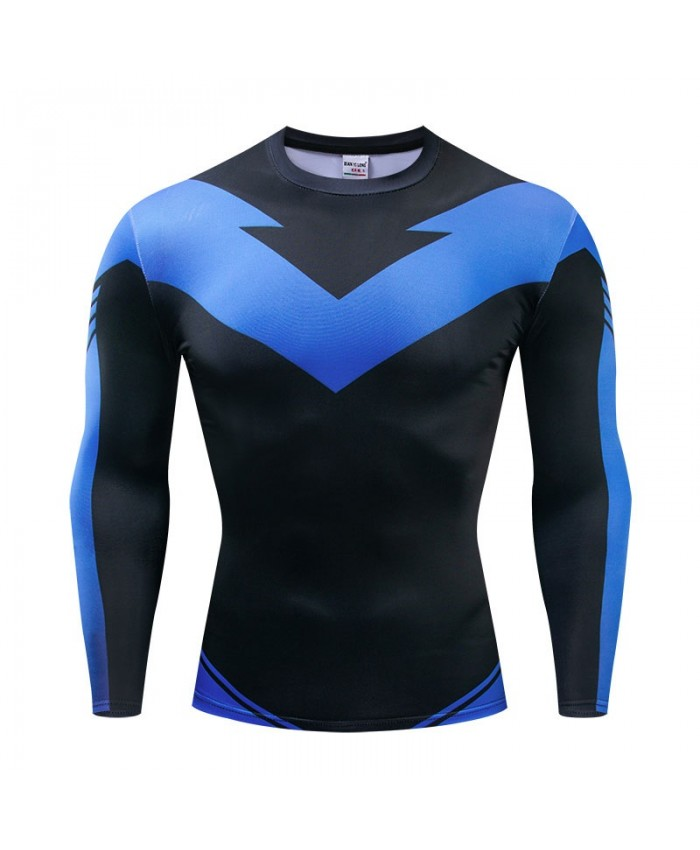 The Avengers 4 Blue Long Sleeve Men Fitness Compression Bodybuilding Marvel Tops Long Sleeve Tee Brand