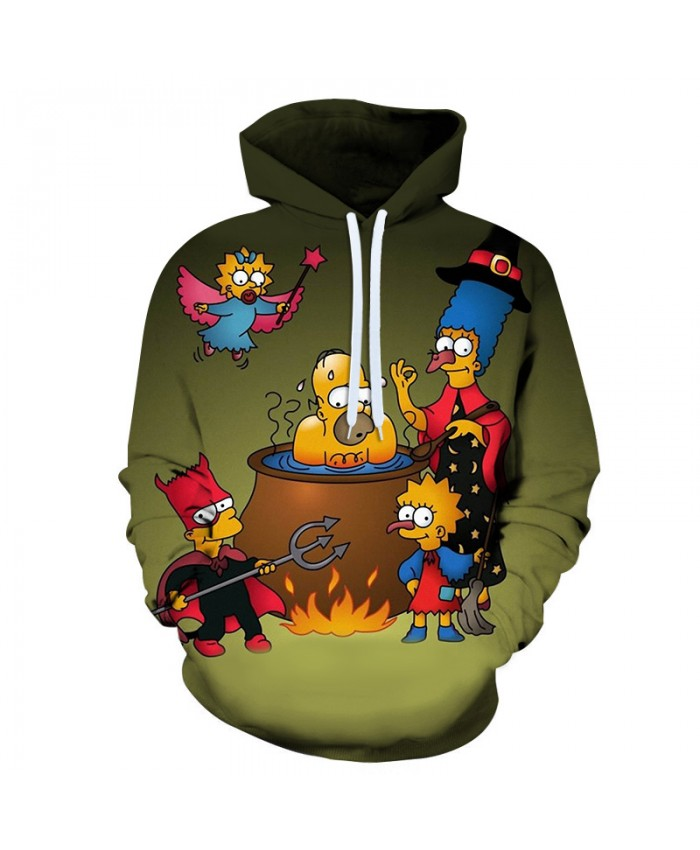 The Simpsons 3D Print Funny Harajuku Coat Hoodies Sweatshirts Clothes Men's Streetwear Hip Hop Tracksuit