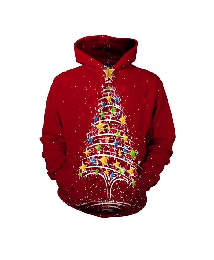 The colorful five-star pattern on the Christmas tree Funny Fashion Christmas Hoodie Sweatshirt