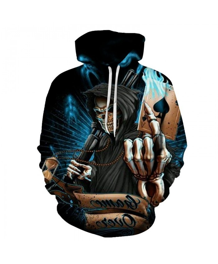 The new top Halloween gift of 2021 death's skull and death's skull poker 3D hoodie men's and women's casual hip-hop hoodie