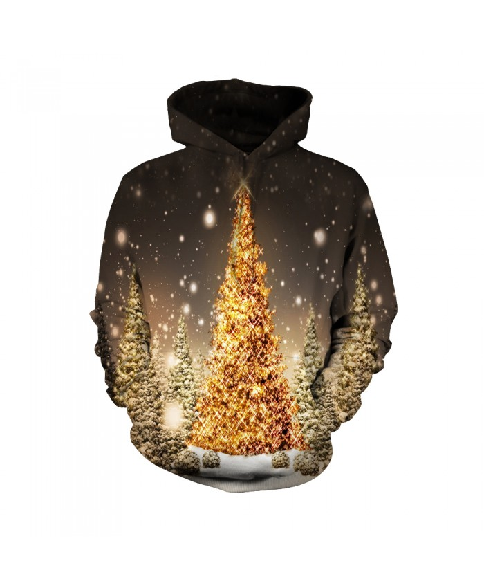 The pattern of the golden Christmas tree Funny Fashion Christmas Hoodie Sweatshirt
