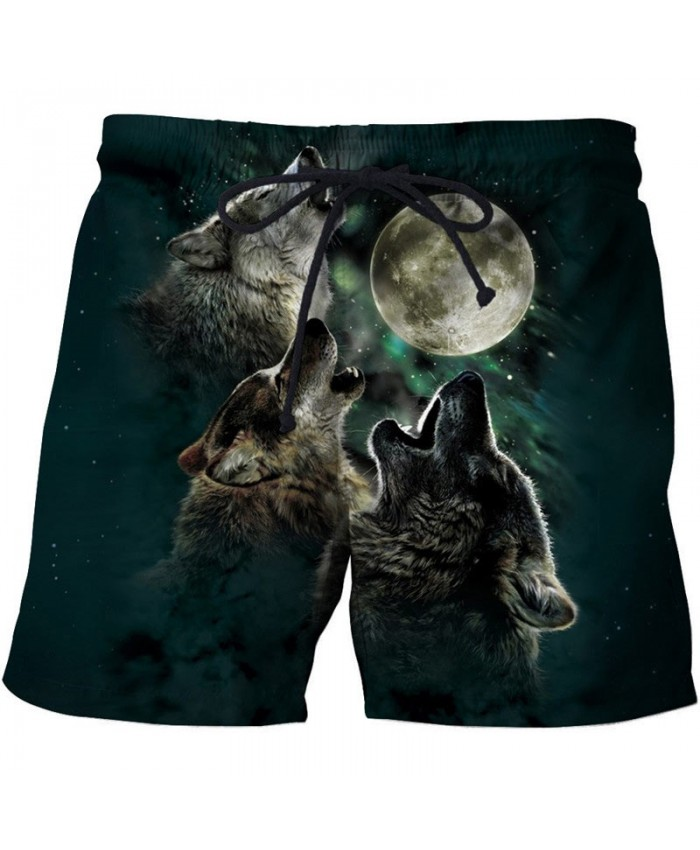Three Wolf Howling 3D Printed Men Board Short Male Quick Dry Beach Short Summer Male Casual Clothing Short Trousers