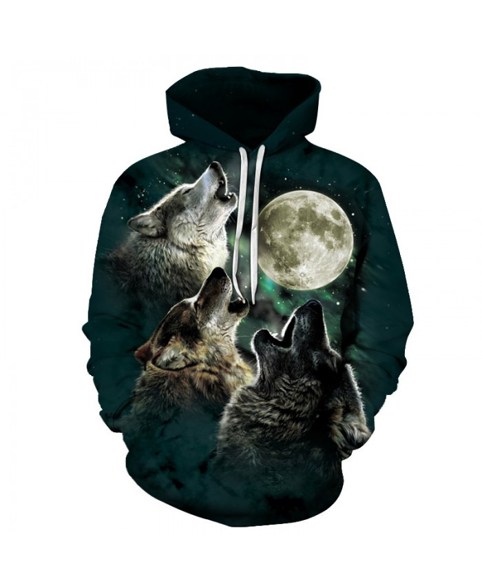 Three Wolf and Moon 3D Sweatshirts Men/Women Hoodies With Hat Print Animal Autumn Winter Loose Thin Hooded Hoody Tops