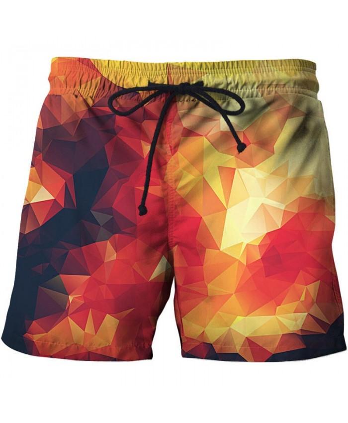 Three-dimensional Shape 3D Printed Men Board Shorts Elastic Waist Beach Shorts Summer Male Clothing Short Trousers