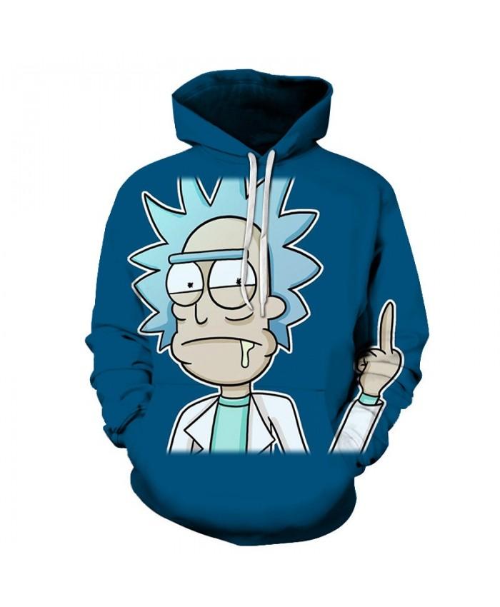 Thumb Up Rick And Morty 3D Printed Men Pullover Sweatshirt Mens Custom Pullover Hoodie Streetwear Sweatshirt Casual