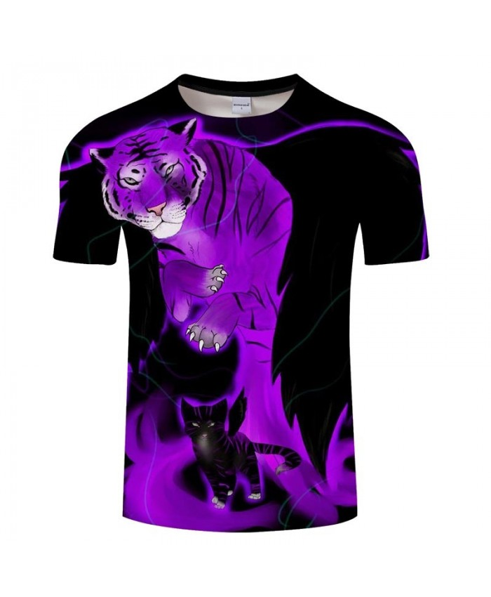Tiger And Cat 3D Printed Men tshirt Crossfit Shirt Casual Summer Short Sleeve Men Brand T Shirt Men Round Neck