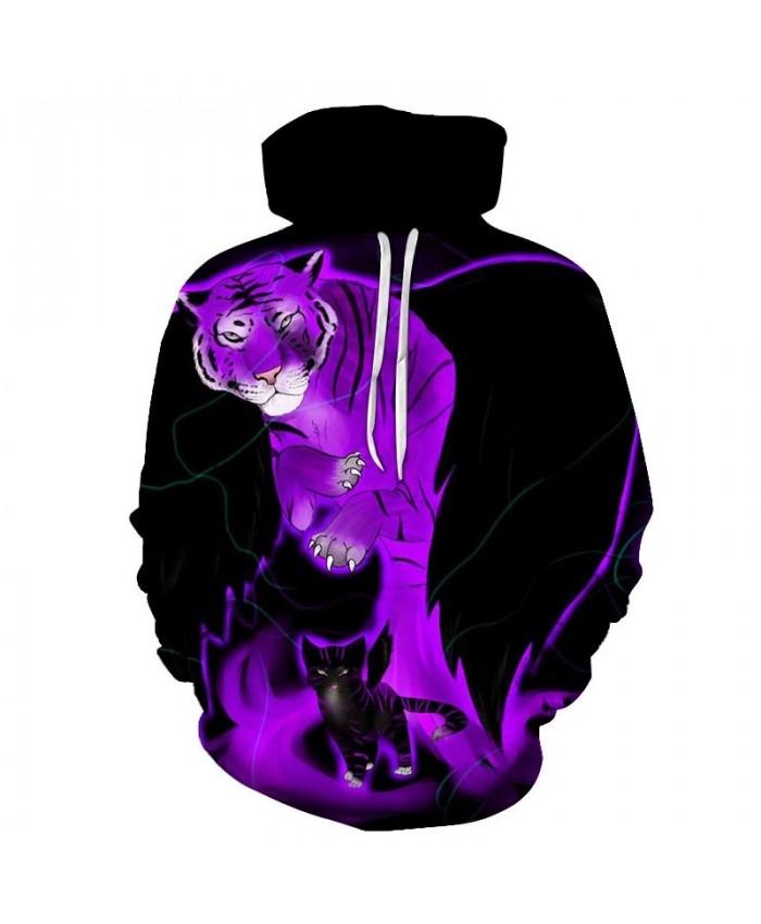 Tiger And Cat 3D Printed Mens Pullover Sweatshirt Pullover Casual Hoodie Men Streetwear Sweatshirt Fashion Hoodie