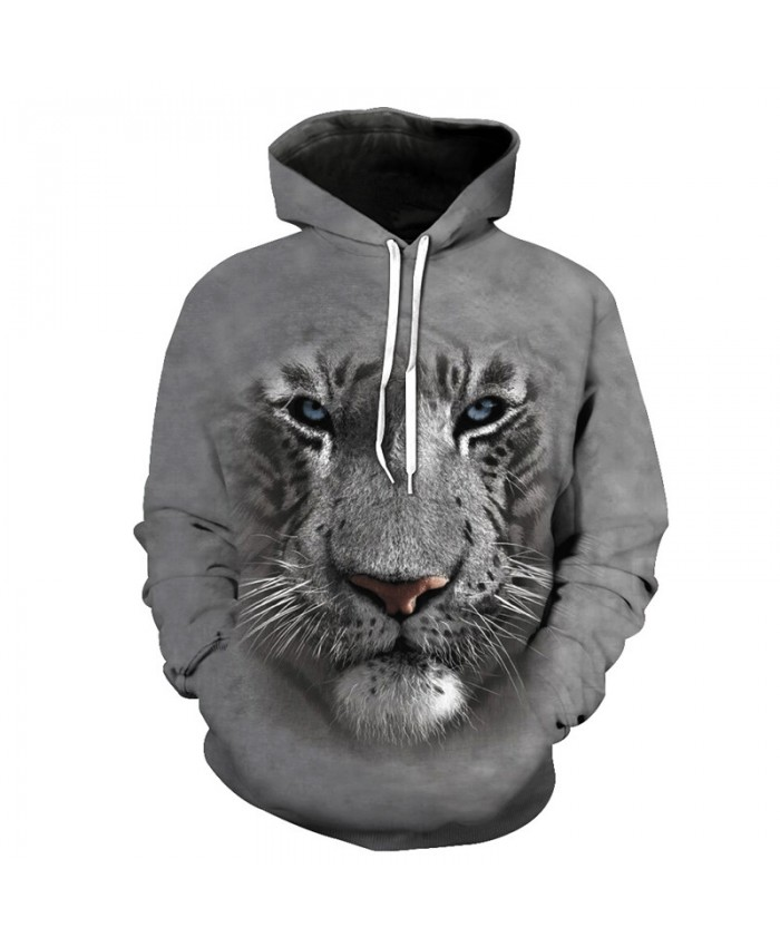 Tiger Print Gray Casual Hooded Sweatshirt Casual Hoodie Autumn Tracksuit Pullover Hooded Sweatshirt