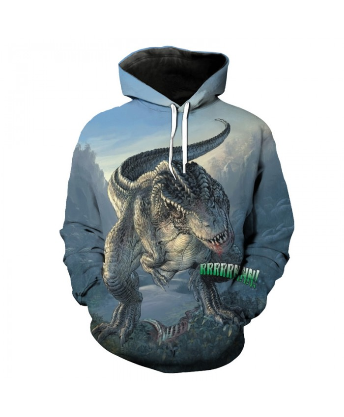 Top Predator Tyrannosaurus Print Fashion Hooded Sweatshirt Blue Sportswear