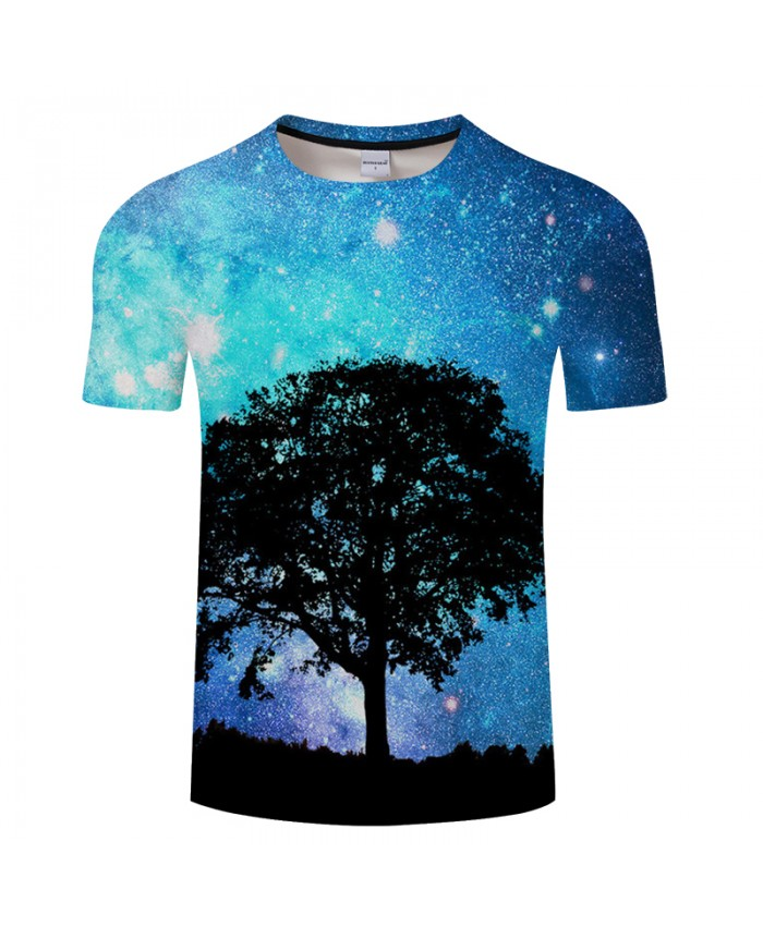 Tree&Galaxy 3D Print t shirt Men Women tshirts Summer Casual Short Sleeve O-neck Tops&Tees Camisetas Blue Drop Ship
