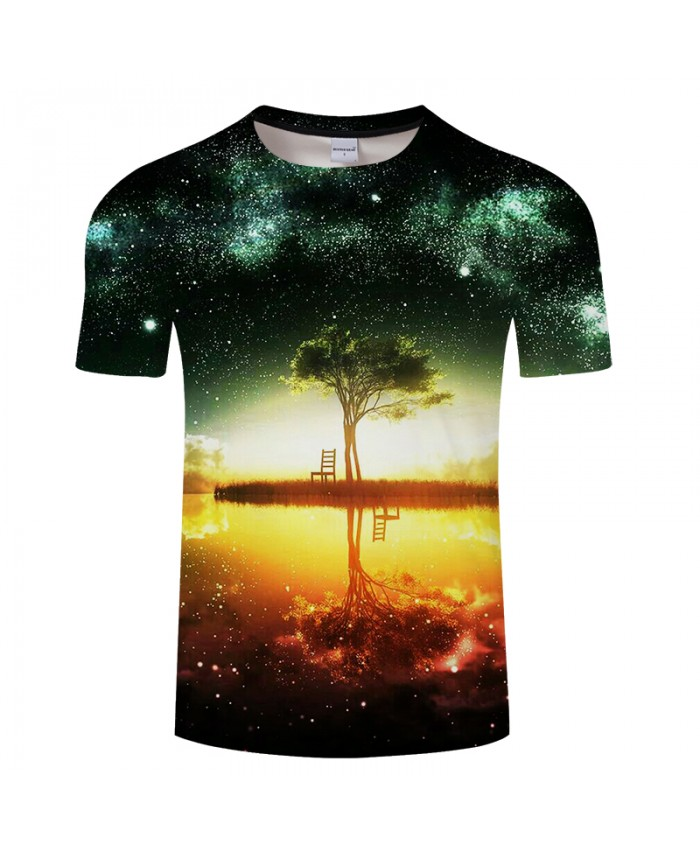 Tree Inverted reflection in water 3D t shirt for Men and Women 2021 Summer Short Sleeve t-shirts Plus Size Drop Ship