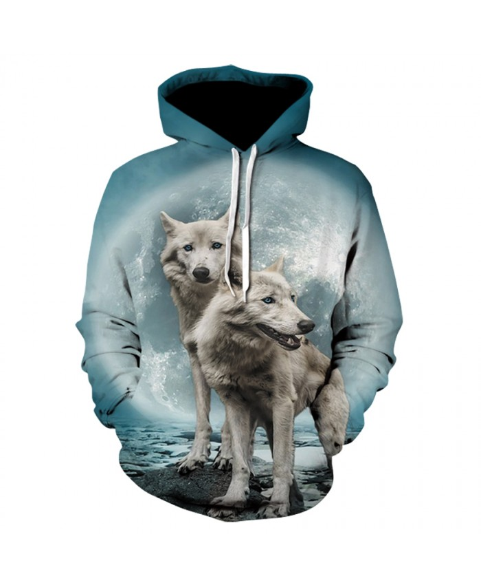 Two cute wolves Unisex 3d Print Wolf Hoodies Men/Women Casual Hoodie Autumn Tracksuit Pullover Hooded Sweatshirt
