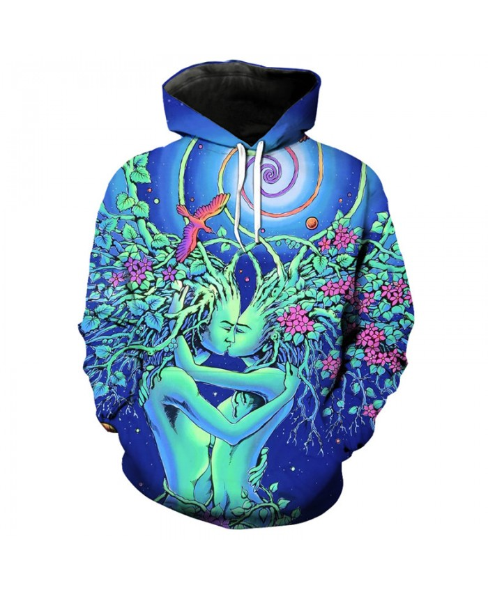 Two kissing tree people Fashion 3D hoodie cool hooded sweatshirt