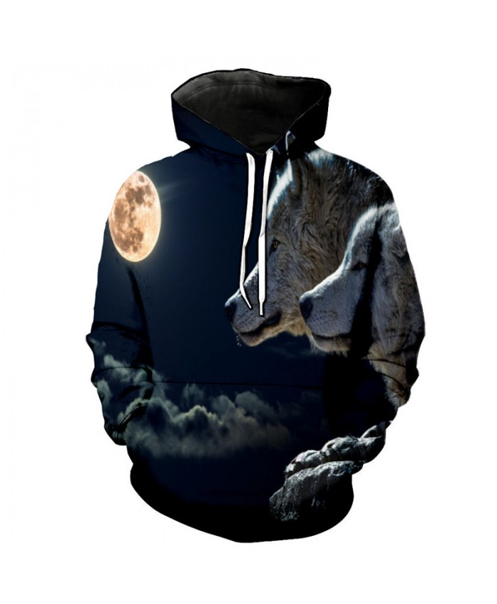 Two wolves under the moon Wolf Print Casual Hoodies Men Women Casual Pullover Sportswear