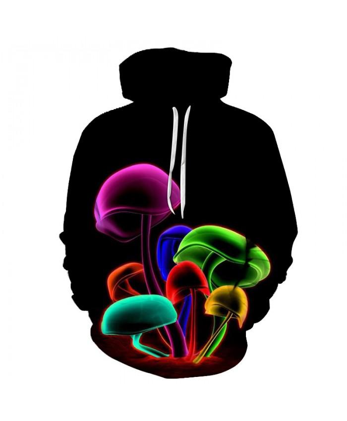 US Size Mushroom 3D Print Unisex Pollover Hoodies With Pocket Sweatshirt Long-sleeve Casual Hoodie Tops