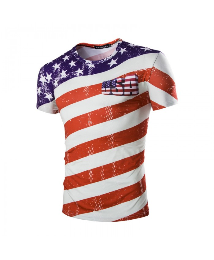 USA Flag Tshirt Stripe Tops Men Short Sleeve Round Neck 3D Printed Men T-shirts Fashion Streetwear Summer Camiseta