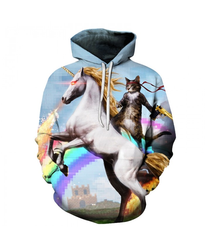 Unicorn Cat Printed Hoodies Men Women 3D Sweatshirts Brand Pullover Casual Tracksuits Unisex Outwear Pocket Hooded Jacket 2021