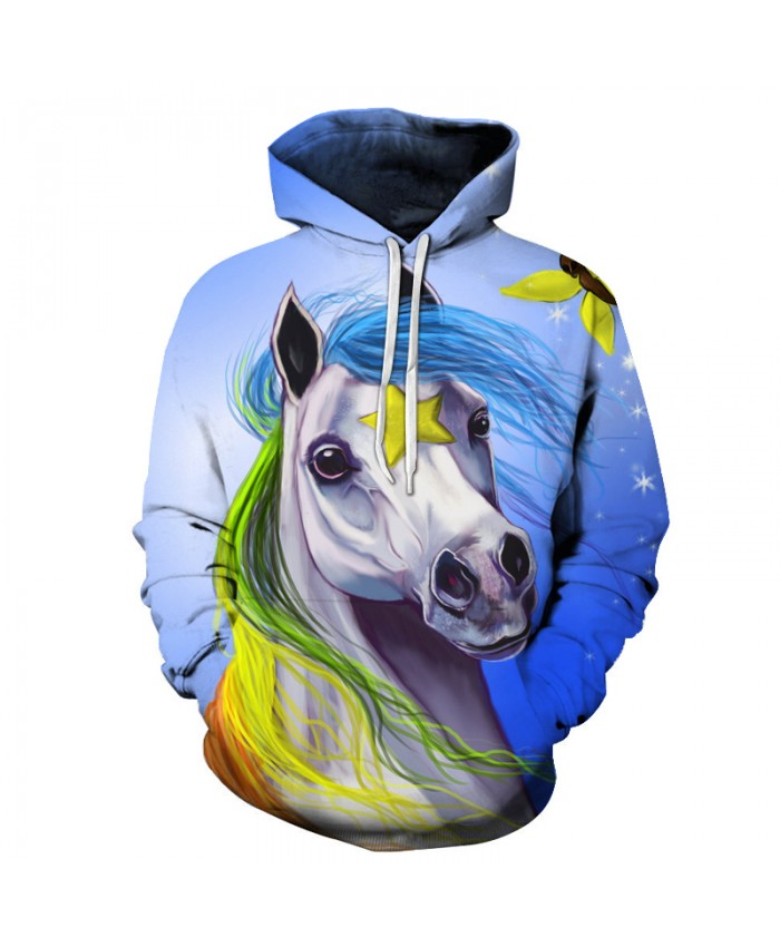 Unicorn Horse Printed Hoodies 3D Sweatshirts Men Women Pullover Unisex 6XL Tracksuits Plus Extend Quality Pocket Jacket New Coat