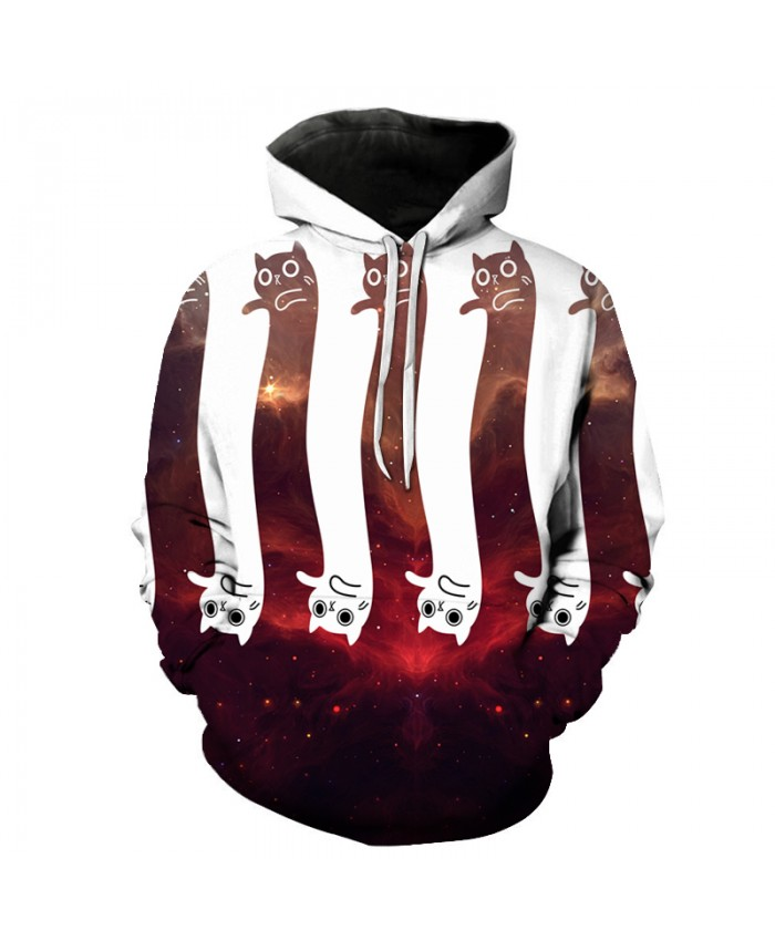 Unisex Hooded Tracksuits Space Cat Printed Hoodies Sweatshirts Autumn Spring Hot Sale Funny Casual Pullover Fashion Jacket