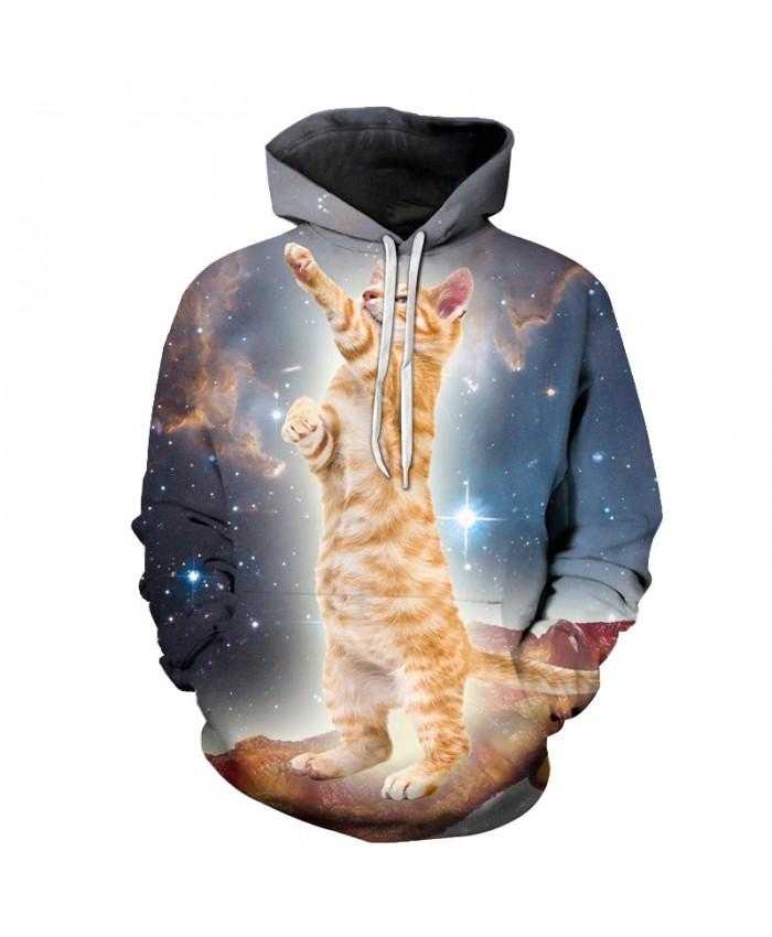 Unisex Hoodies 3D Galaxy Cat Men Sweatshirt Autumn Hooded Pullover Novelty Streetwear Casual Tracksuits Animal Boy Jacket